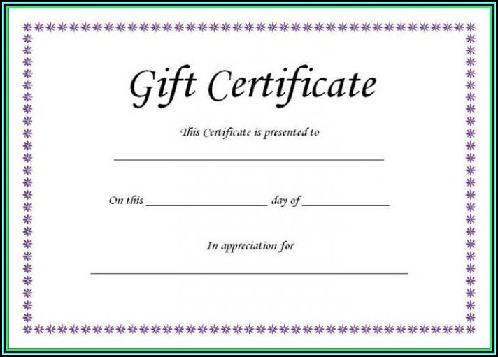 Blank Gift Certificate Template Word - Template 1  Resume Examples