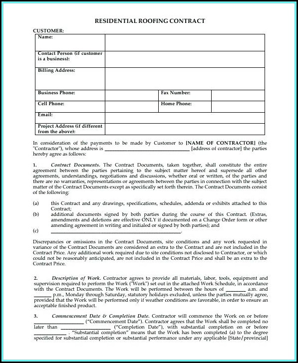 Blank Roofing Contract Template - Template 1  Resume Examples