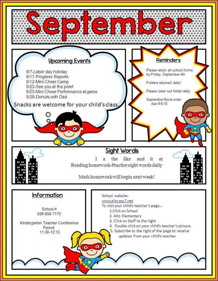 Elementary School Newsletter Templates Free - Template 1  Resume