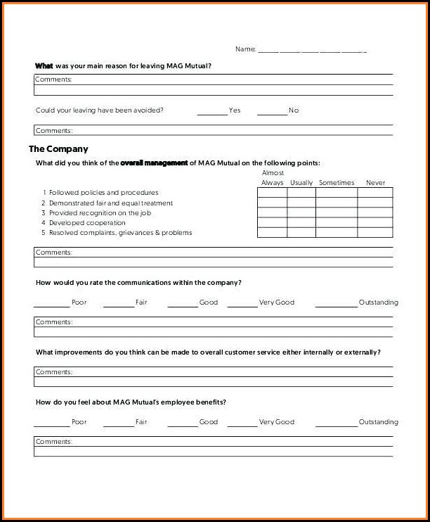 Exit Interview Form Template Free - Template 2  Resume Examples