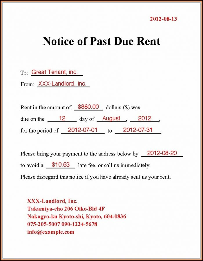 Free Eviction Notice Template California - Template 2  Resume