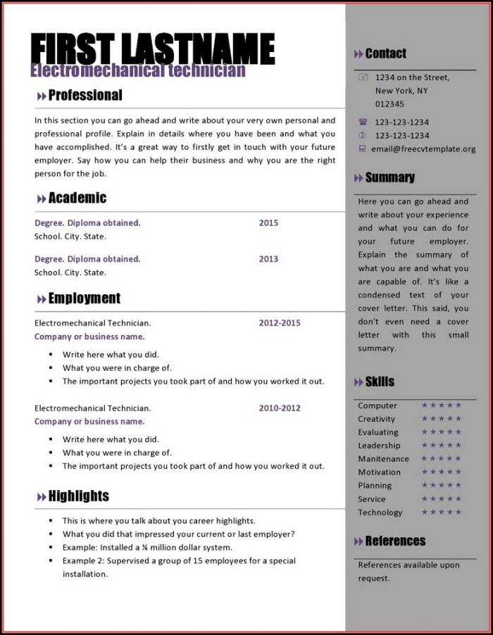 Creative Resume Templates Free Download For Microsoft Word - Resume