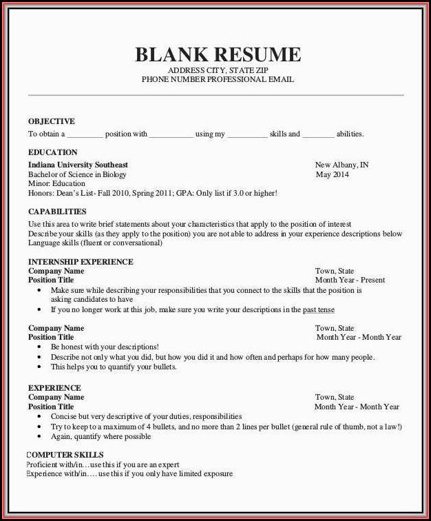Print Free Resume Form - Resume  Resume Examples #05KAJA43wP