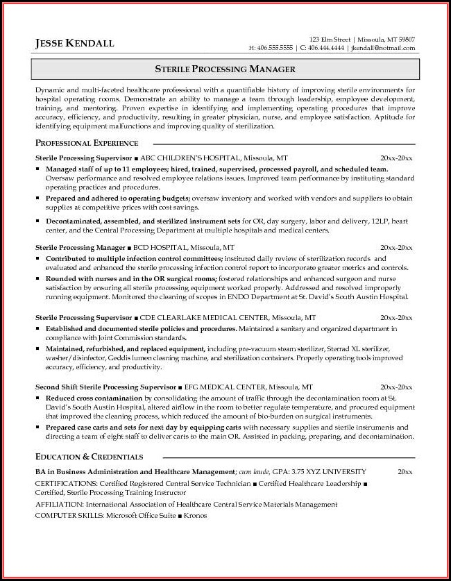 Free Sample Resume For Sterile Processing Technician - Resume