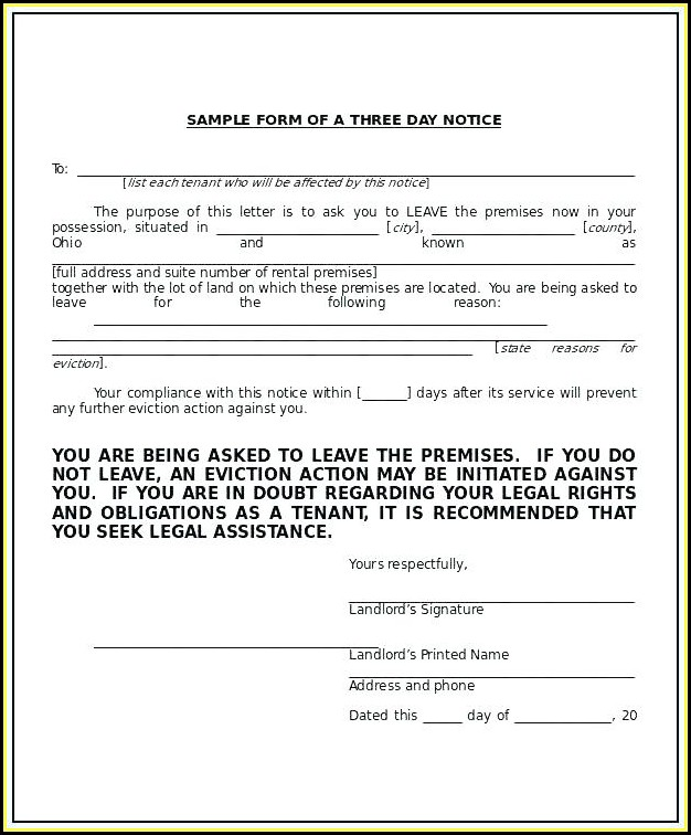 Florida 3 Day Eviction Notice Form Pdf - Form  Resume Examples
