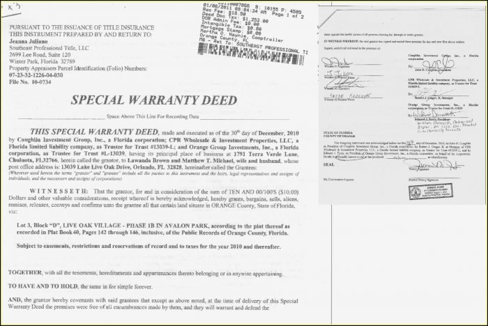 Free Florida Warranty Deed Template - Form  Resume Examples #G28Beok3gE