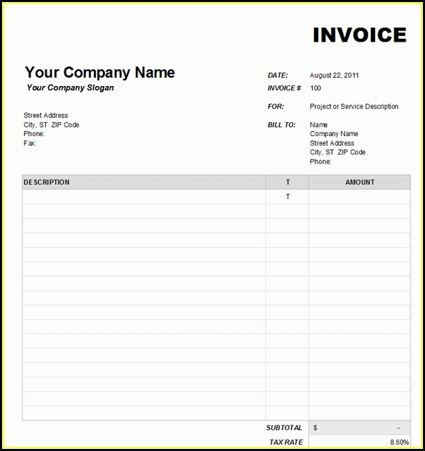 Free Blank Invoice Form Word - Form  Resume Examples #ZL3nenkKQ5