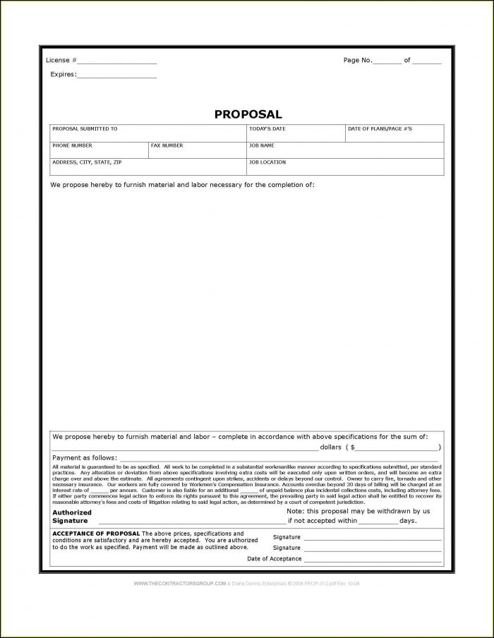 Free Printable Construction Proposal Forms - Form  Resume Examples