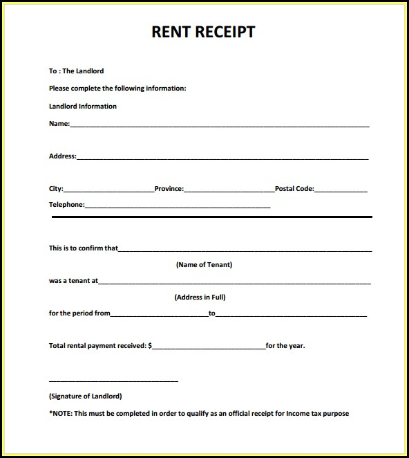 Free Download Rent Receipt Format India - Form  Resume Examples