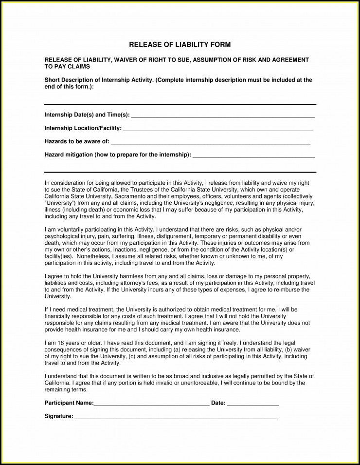 Free Liability Release Forms Pdf - Form  Resume Examples #Mj1vQdq8wy