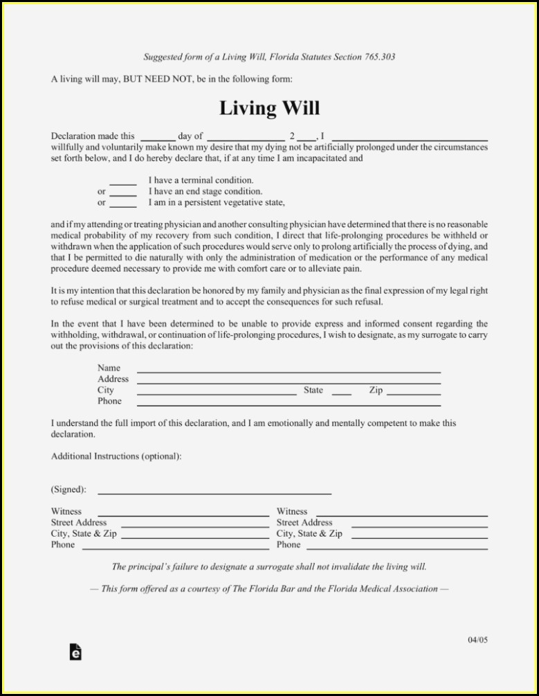 Free Printable Living Will Forms Florida - Form  Resume Examples