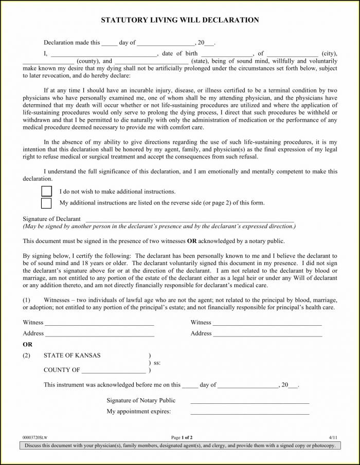 Free Printable Living Will Forms Oklahoma - Form  Resume Examples