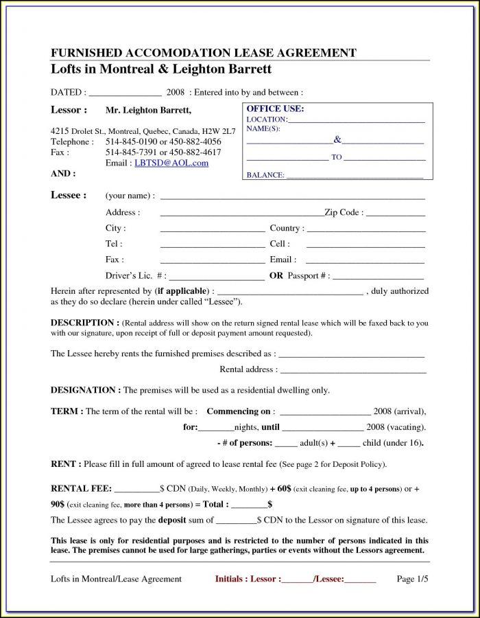 Free Printable Rental Agreement Forms California - Form  Resume