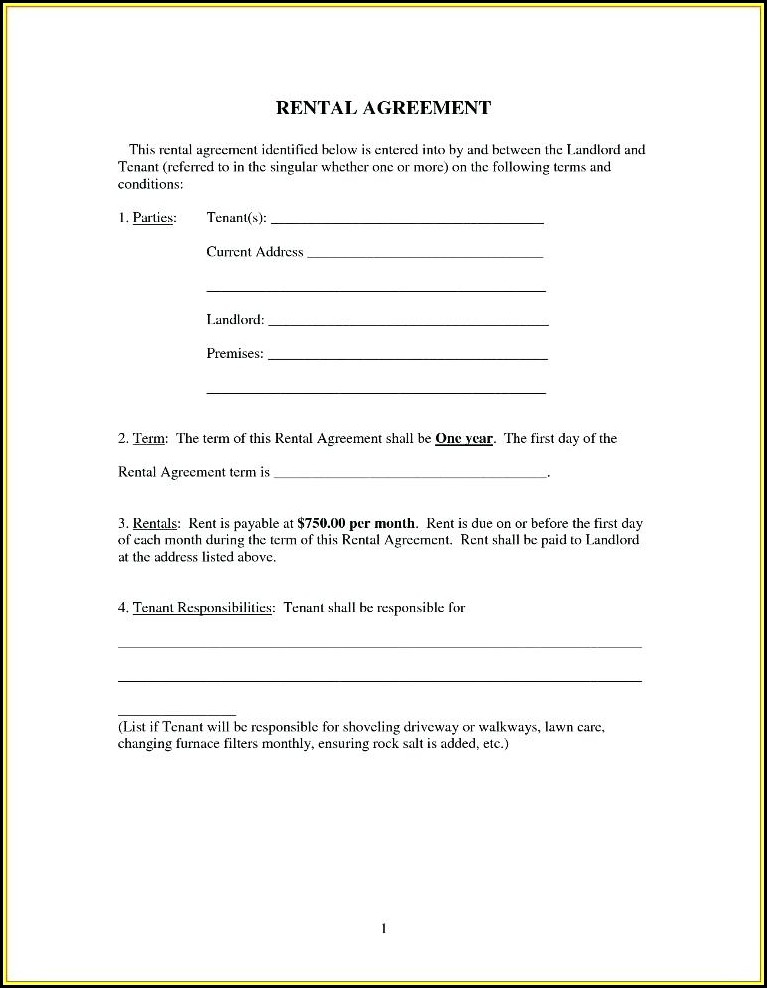 Free Simple Rental Agreement Forms To Print - Form  Resume Examples