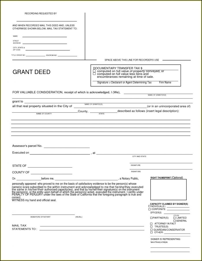 Grant Deed California Form Free - Form  Resume Examples #Xk87zq43ZW
