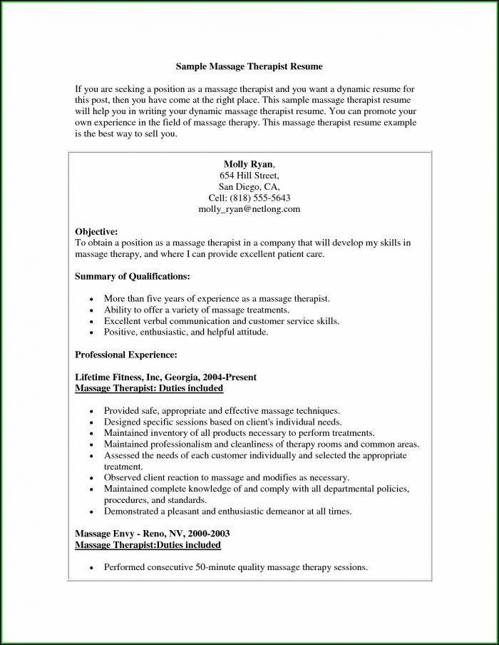 Massage Therapist Resume - Resume  Resume Examples #N48m6Vq1yz