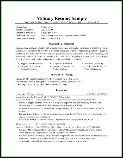 Military One Source Resume Templates - Resume  Resume Examples