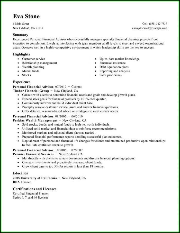 Resume Financial Advisor Assistant - Resume  Resume Examples