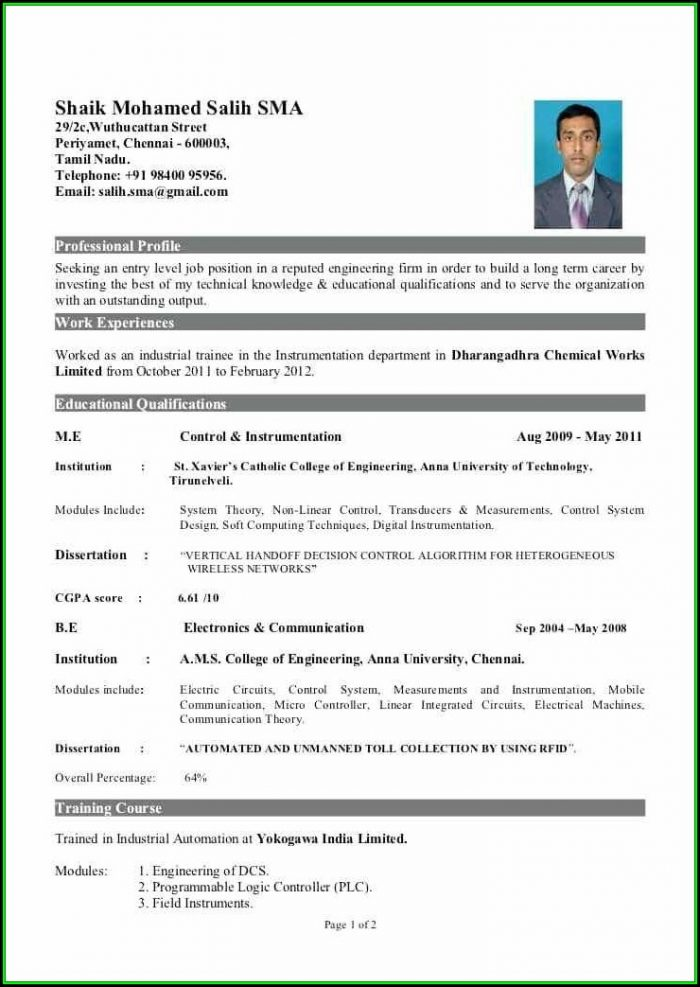 Mba Sample Resume For Freshers In Hr - Resume  Resume Examples