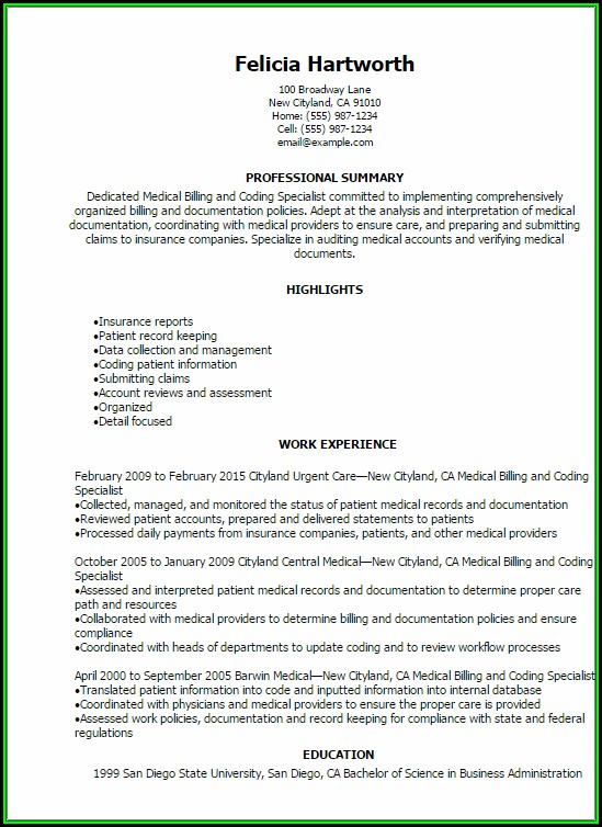 Resume For Medical Billing And Coding - Resume  Resume Examples