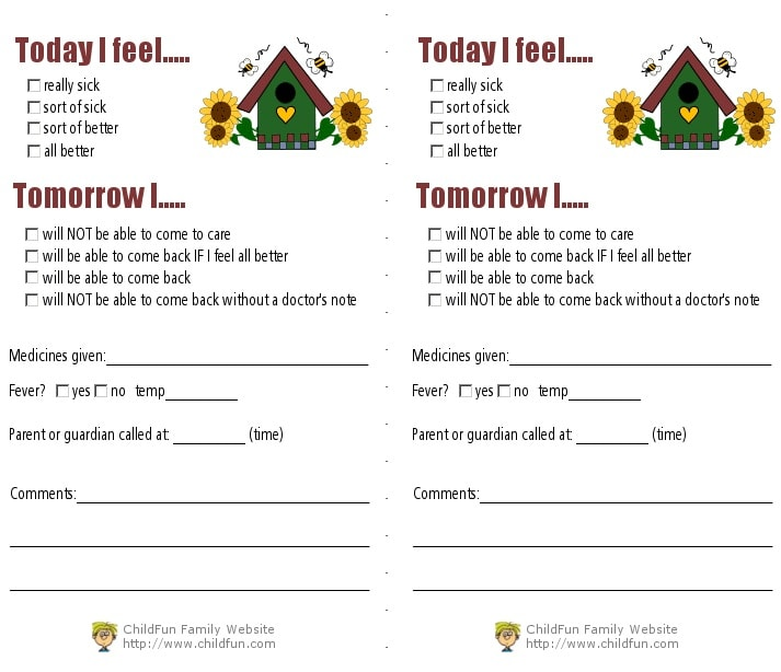 Child Care Medical Forms - Print for Free ChildFun - medical forms