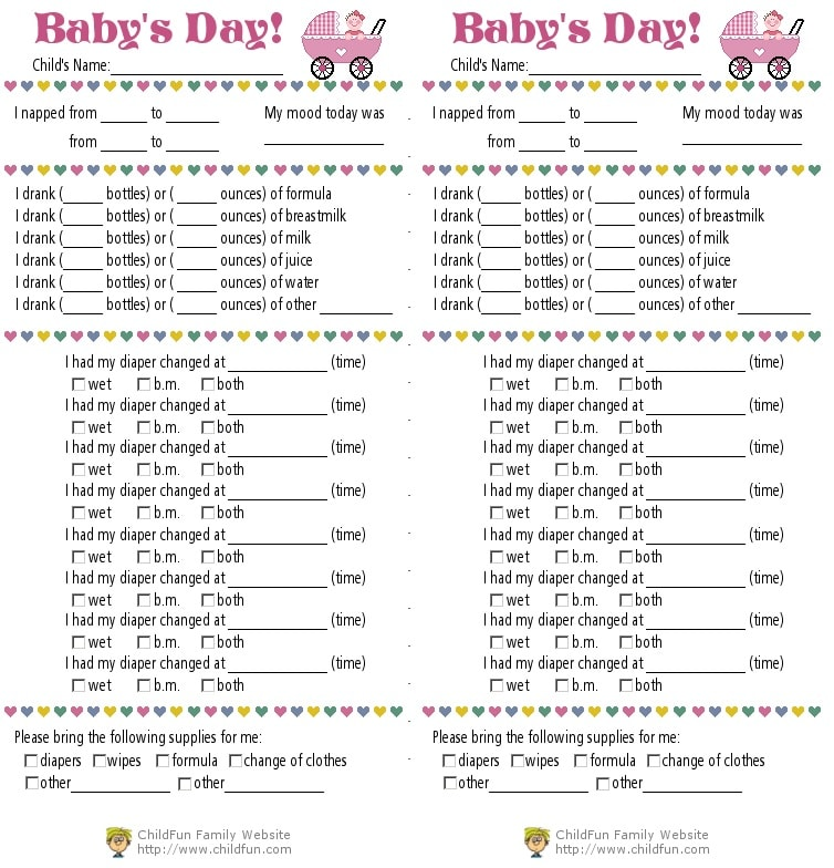 infant daily log printable - Canasbergdorfbib