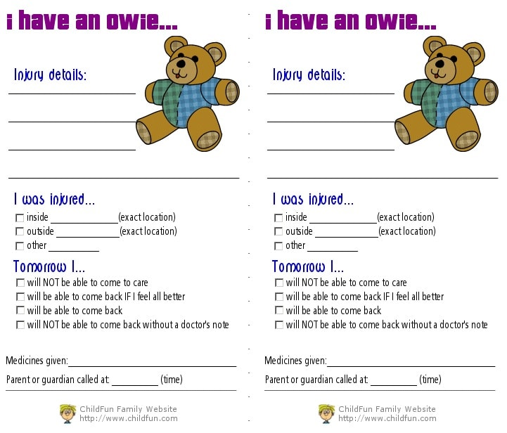 Child Care Medical Forms - Print for Free ChildFun - free medical form