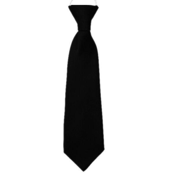 Boys Black Plain Satin Suit Tie on Elastic Pre-tied Formal Occasion