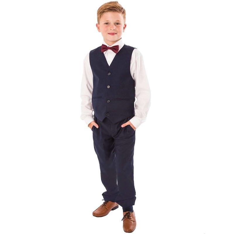 Navy 4 Piece Bow Tie Trouser Suit