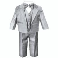 Baby Boys Silver Grey Suit   5 Piece   Bow Tie   Jacket ...
