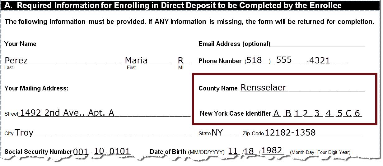 NYS DCSE Direct Deposit - direct debit form