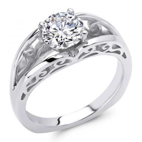 White Gold Solitaire Engagement Ring - Bridal  Engagement