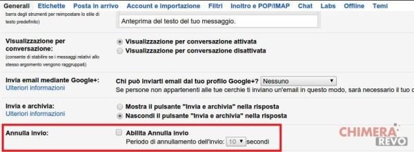 Annullare l'invio di una email in Gmail