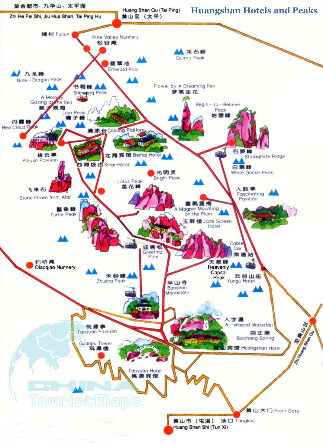 Old Time Car Wallpaper Hd Mt Huangshan Travel Maps 2018 Yellow Mountain Hiking Map