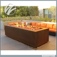 Multi function Corten Steel Fire Pit Rectangle Metal ...