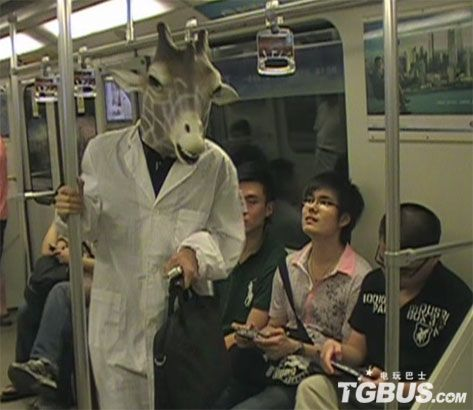 Shanghai subway giraffe deer man.