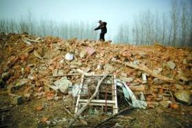 A demolished pig farm in Jiangsu province of China.
