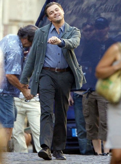 "Leonardo DiCaprio ""strutting"" on the set of Inception."