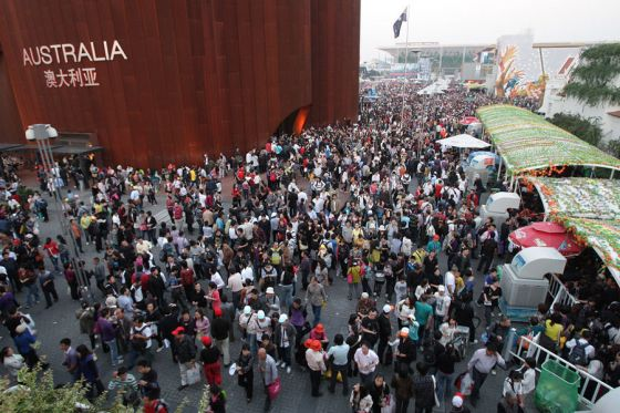 Crowds of visitors around the Australia Pavilion at the Shanghai 2010 World Expo.