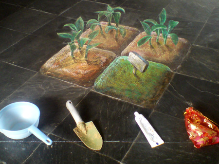 3D chalk art: planted vegetables.