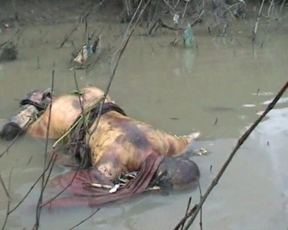 A frame grab taken September 30, 2007 and released October 1, 2007, shows the body of a dead Buddhist monk floating in Pazondaung River in Yangon. It is not known when the monk was killed. REUTERS/Democratic Voice of Burma (MYANMAR)