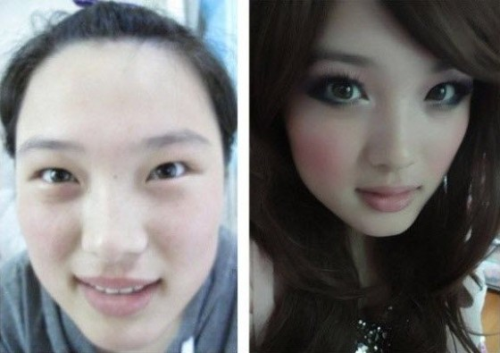 Asian girls with make-up vs. without make-up.