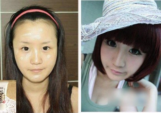 Before and after photos of Chinese girls with and without makeup.