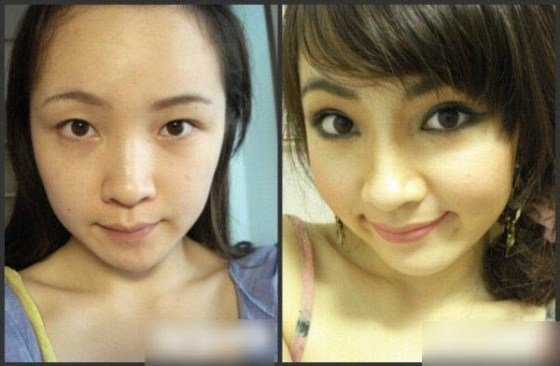 Before and after photos of Asian girls with and without make-up.