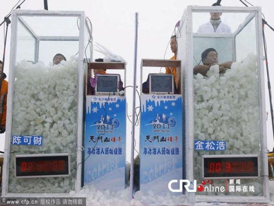 Chen Kecai and Jin Songhao submerged in ice in Hunan to challenge the Guiness World Record.