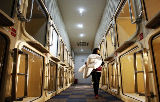 A capsule hotel in Shanghai, inspired by capsule hotels in Japan.