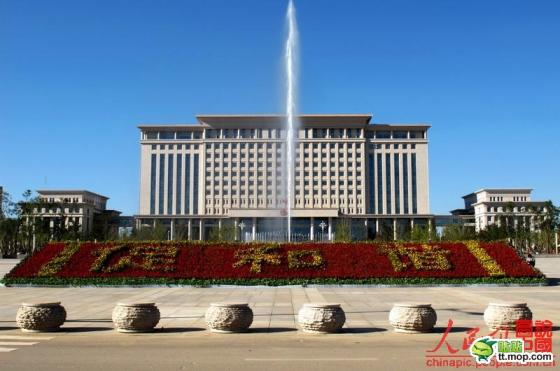 A Chinese government building in Qingyang city of Gansu province, China.