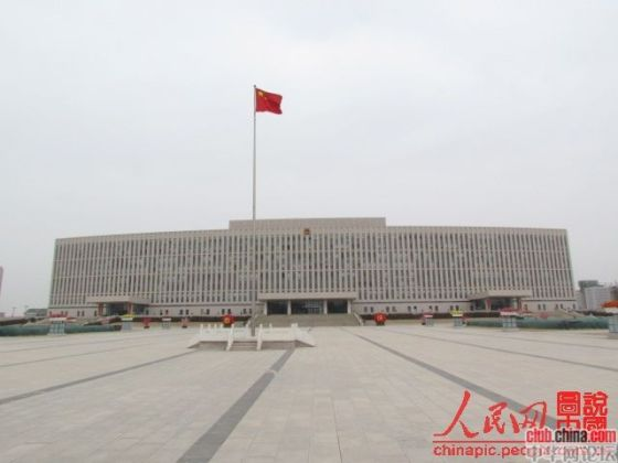 A Chinese government building in Baiyannaoer city of Inner Mongolia, China.