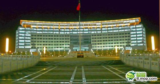 A Chinese government building in Kelamayi city of Xinjiang, China.