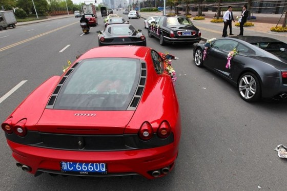 Ferraris as part of a wedding motorcade in Wenzhou, China.